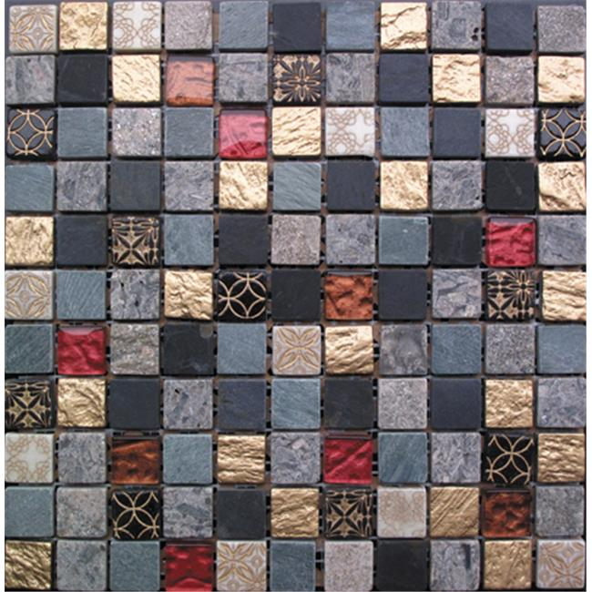Intrend Tile 1 x 1 Royal Gold Stone And Glass Square Gray, Black, Tan And Gold With Red Accent