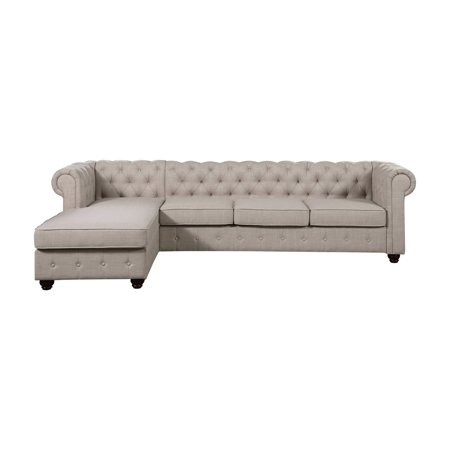 Astonishing Rosevera Quitaque Tufted 4 Seat Sectional Sofa With Chaise Ibusinesslaw Wood Chair Design Ideas Ibusinesslaworg