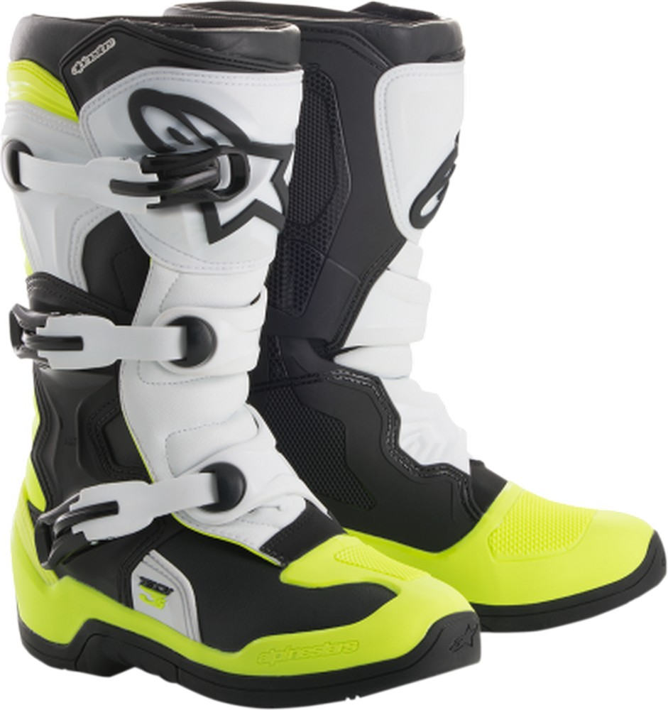 Alpinestars Tech 3S Youth MX Offroad Boots Black/White/Yellow