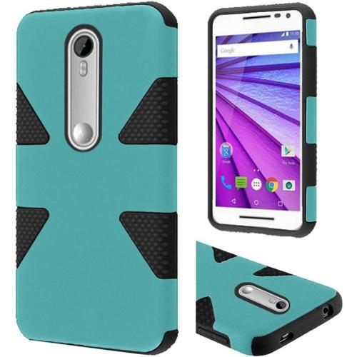 Insten Dynamic Hard Hybrid Rugged Shockproof Silicone Case For Motorola Moto G (3rd Gen) - Teal/Black