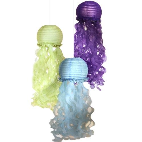 Mermaid 'Mermaid Wishes' Deluxe Jellyfish Paper Lanterns (3ct)