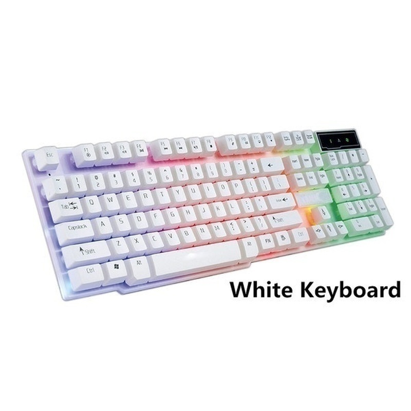 Willstar NEW Black/White Backlit Keyboard and Mouse Set USB Wired Keyboard Mouse Glow Game Suit