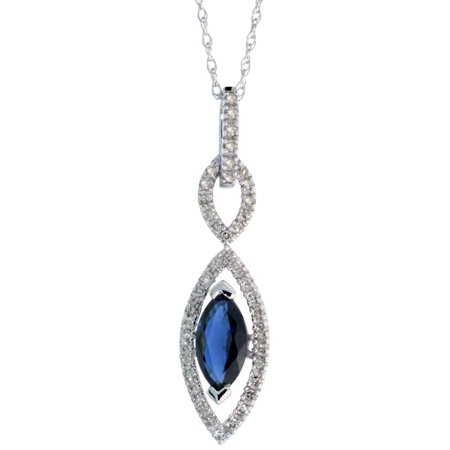 10k White Gold Genuine Blue Sapphire Art Deco Evil Eye Necklace Marquise 8x4 MicroPave Diamond Halo 1 1/8 (28mm) inch