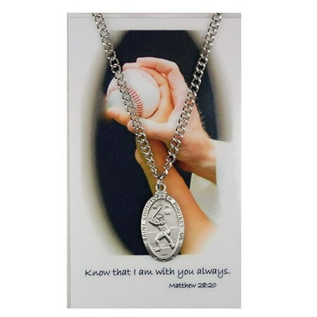 Pewter Saint Christopher Boys Baseball Sports Medal Pendant with Prayer Card, 1 Inch New Pierced Baseball Pendant