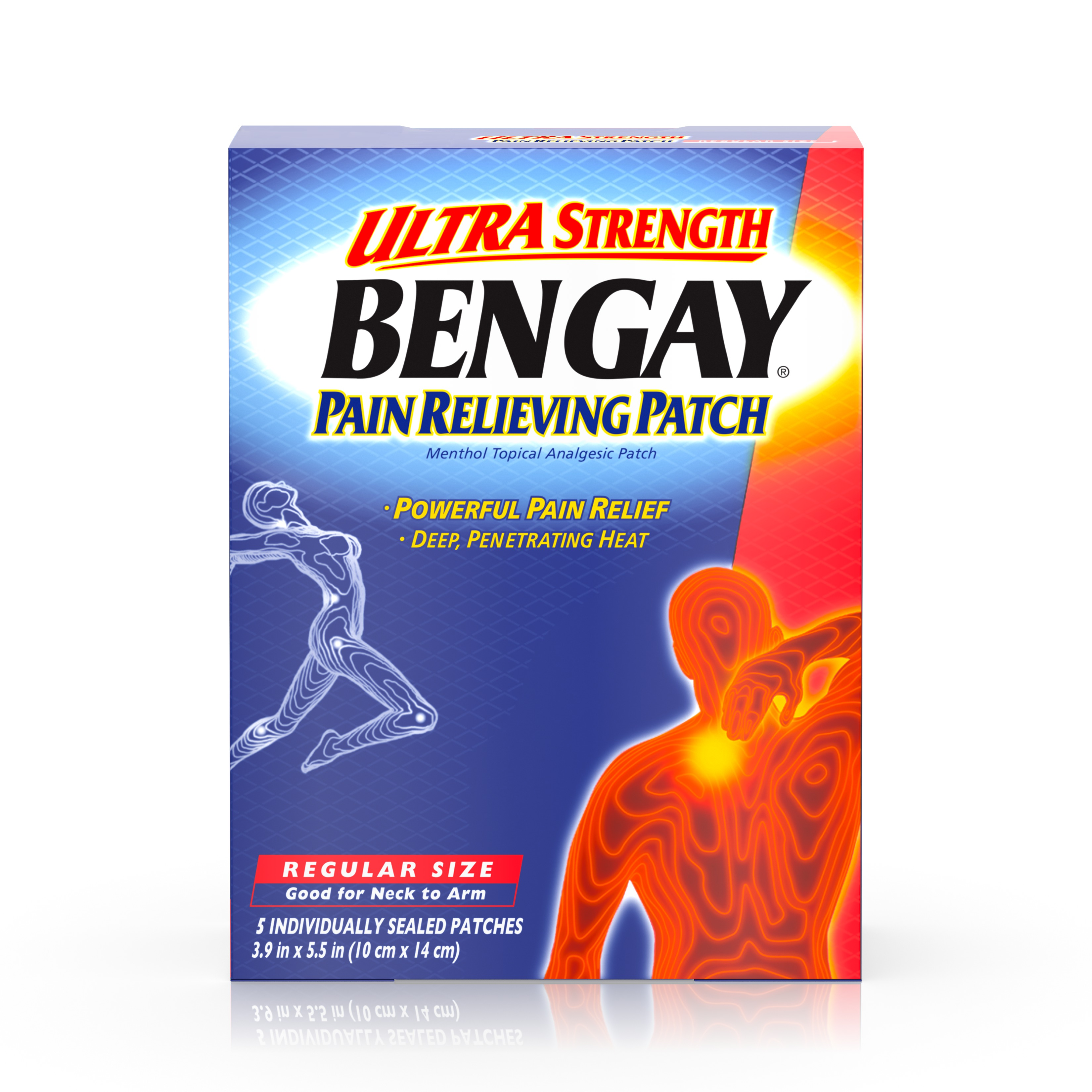 Ultra Strength Bengay Pain Relief Patch, 3.9 x 5.5 in, 5 Count