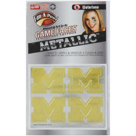 Michigan Wolverines Game Faces Metallic Tattoo
