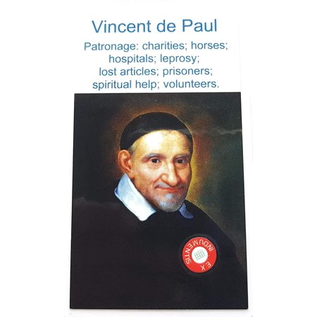 relic card 3rd Class of Saint Vincent de Paul Patron of Charities Horses Hospitals Leprosy Lost Articles Prisoners Richmond San Vicente de Paúl hospitales, leprosos, prisioneros - Saint Paul College Card