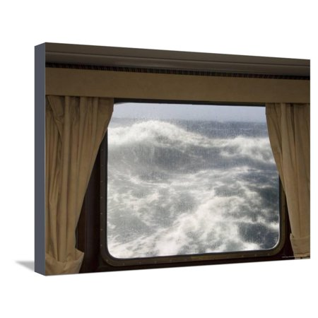 View from Cabin on Antarctic Dream Navigation on Rough Seas Near Cape Horn Stretched Canvas Print Wall Art By Sergio - Near Cape Horn