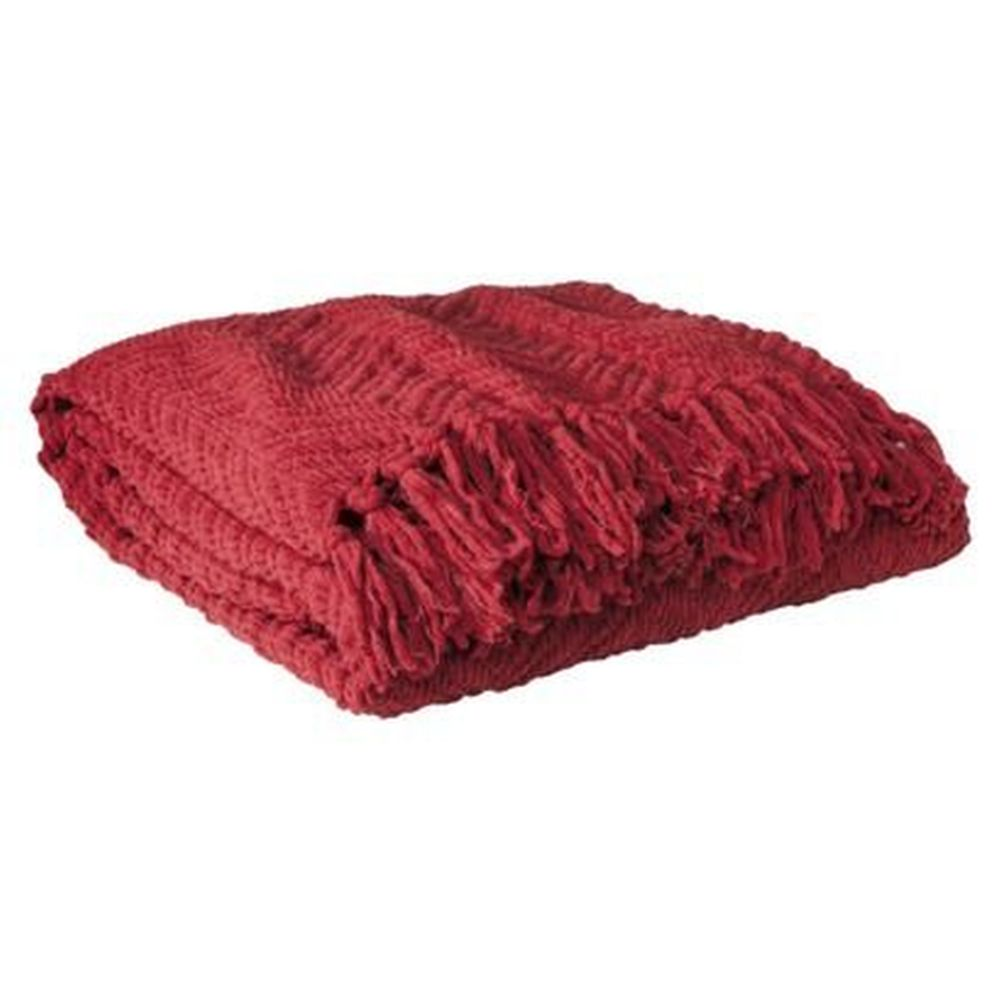 Threshold Rich Red Fringed Chenille Throw Blanket Soft & Cozy Warm