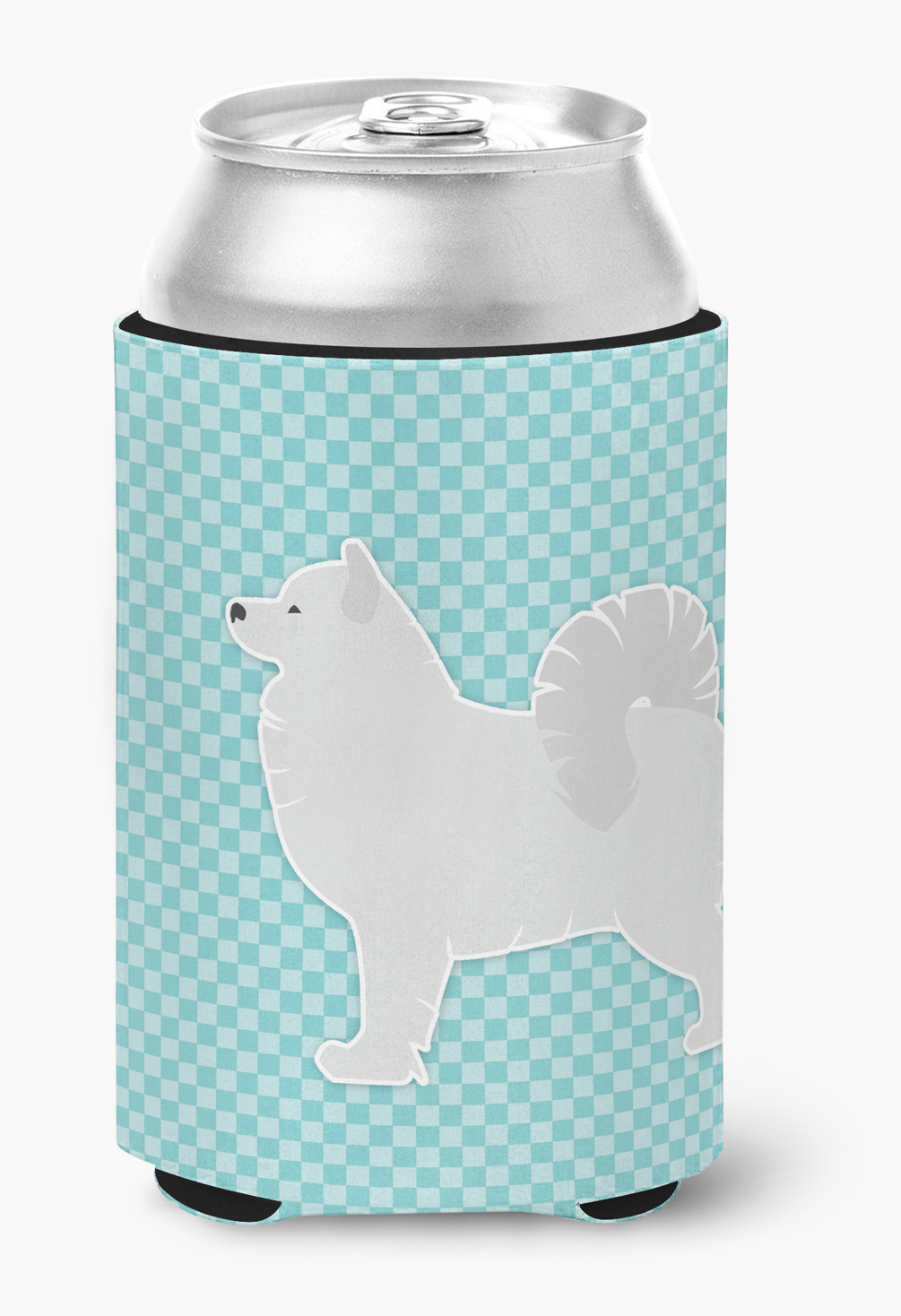 Samoyed Checkerboard Blue Can or Bottle Hugger by Caroline's Treasures