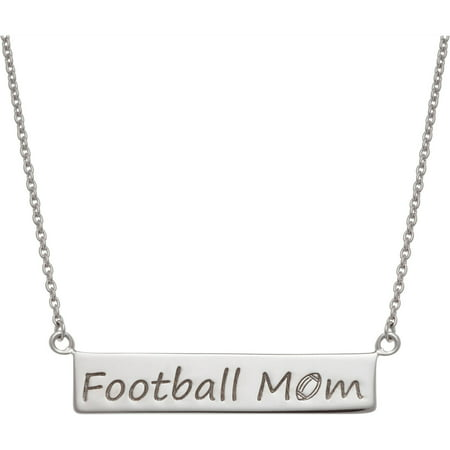 Sterling Silver Football Mom Plaque Necklace](Football Necklaces)