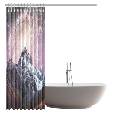 GCKG Snow-capped Peaks Shower Curtain, Fantastic Starry Sky Mountains Fabric Bathroom Shower Curtain 66x72 Inches - image 1 de 3