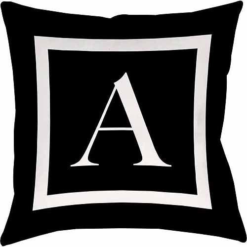 thumbprintz classic block monogram decorative pillow black