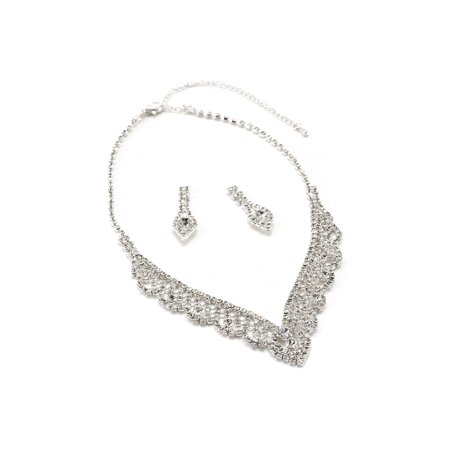 Leaf Necklace Earring Set (Silver Crystal Rhinestone Bridal Wedding Party Waterdrop Dangle Earrings & V Shaped Leaf Rhinestone Necklace Set)