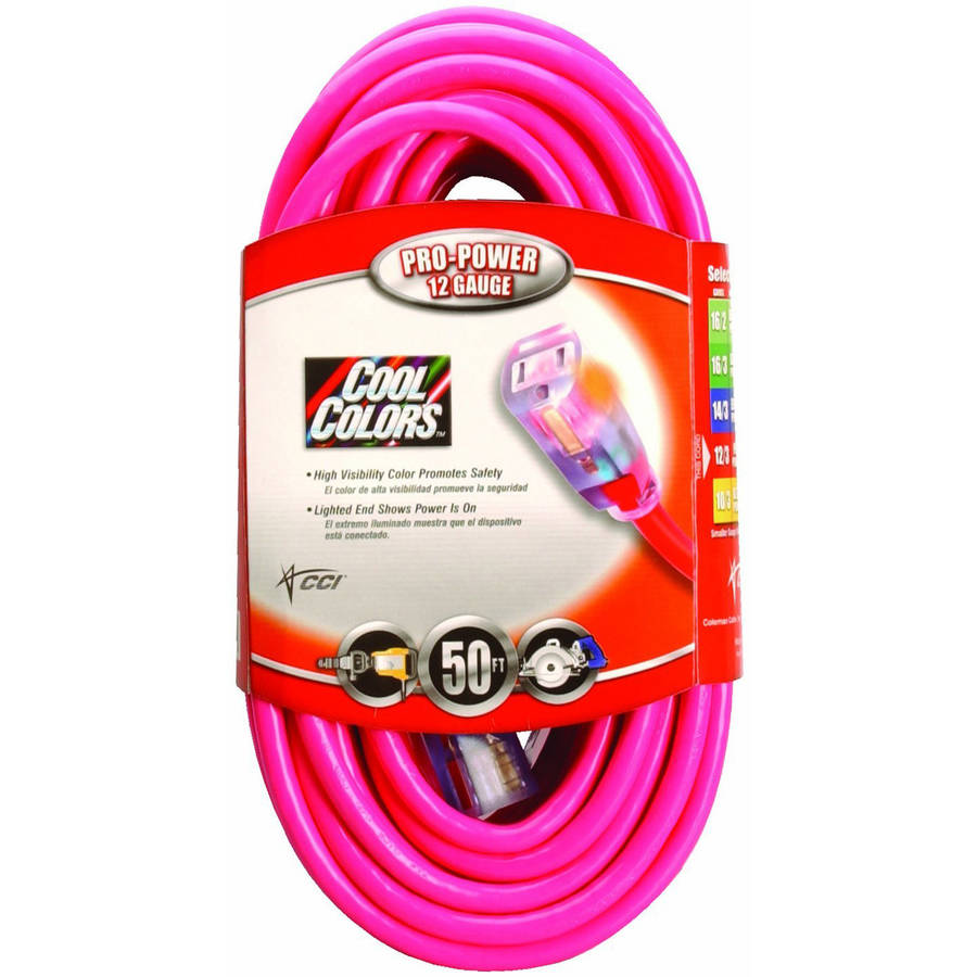 Coleman Cable 02578-0A 50' 12 3 Neon Outdoor Extension Cord, Bright Pink by Coleman Cable