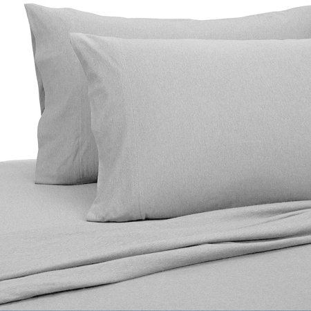 Malina Cotton Jersey Bed Sheet Set, Fresh Linen, Light Gray, Twin ()