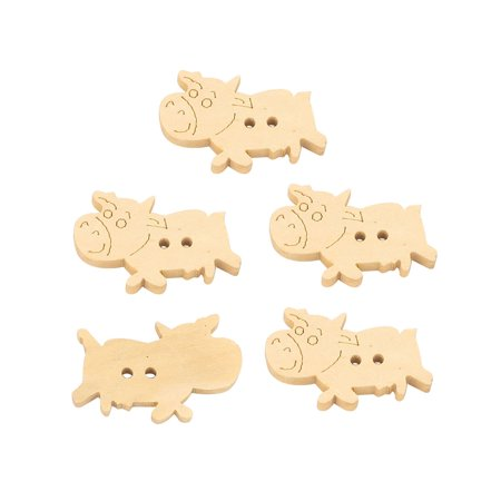 Wood Clothing - Unique Bargains 5Pcs Wood Cow Shaped Sewing DIY Craft Card Doll Bag Clothing Buttons
