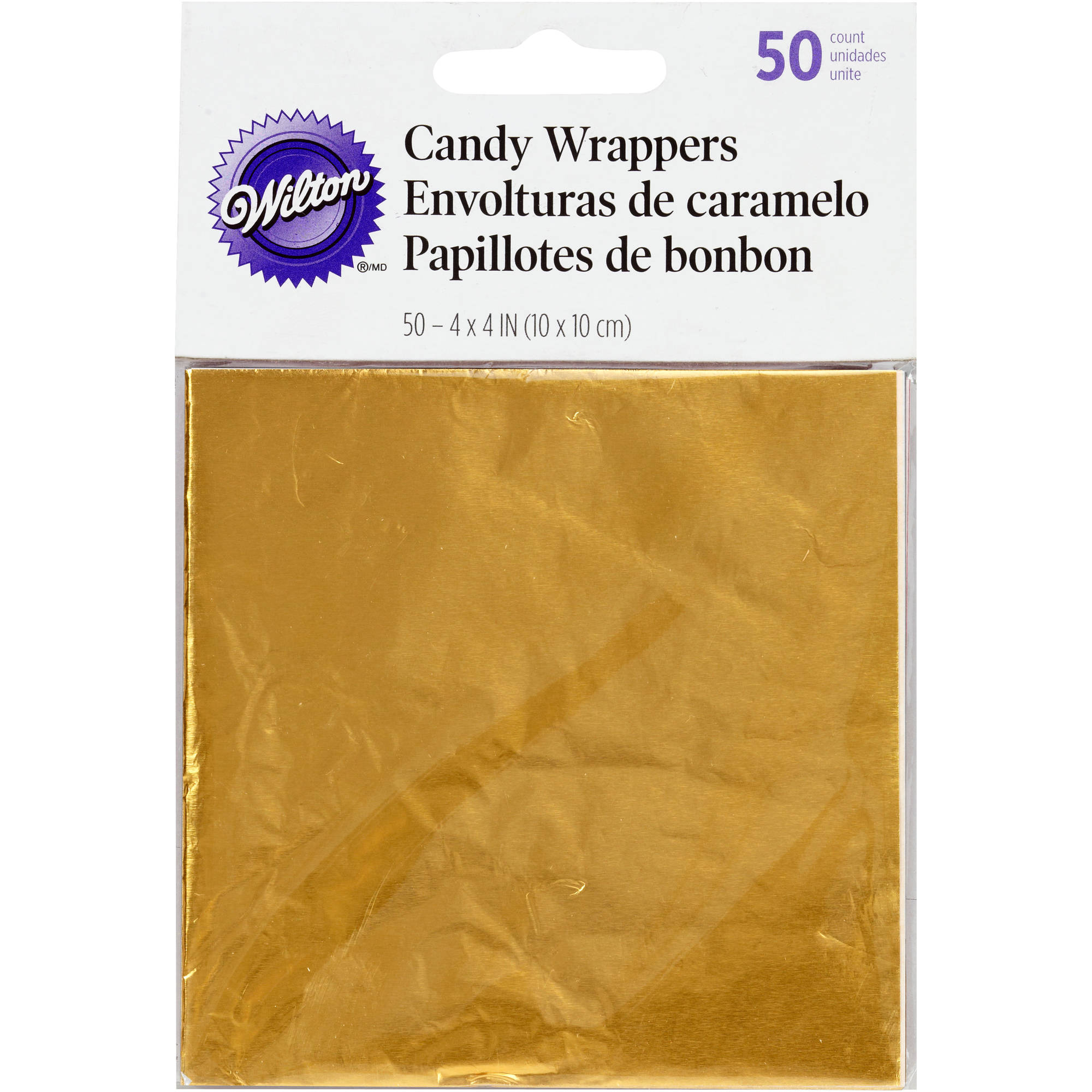 """Wilton 4""""x4"""" Foil Candy Wrappers, Gold 50 ct. 1904-1197"""