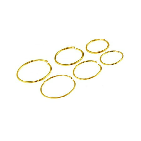 Package of 6 Gold or Silver Tone Nose Ring or Cartilage Hoop 3 (20G) and 3 (22G) Different Sizes (5/16