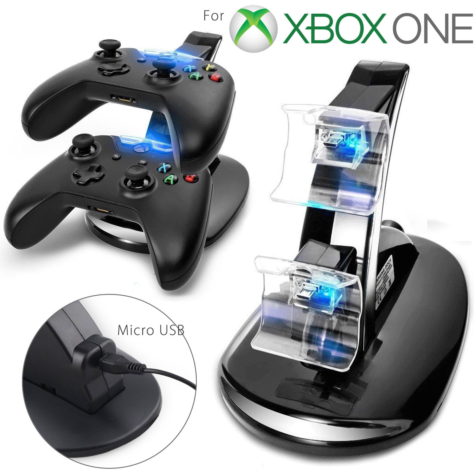 LED Dual Fast Charging Dock Station Charger for Xbox One   Xbox One S Controller by TSV