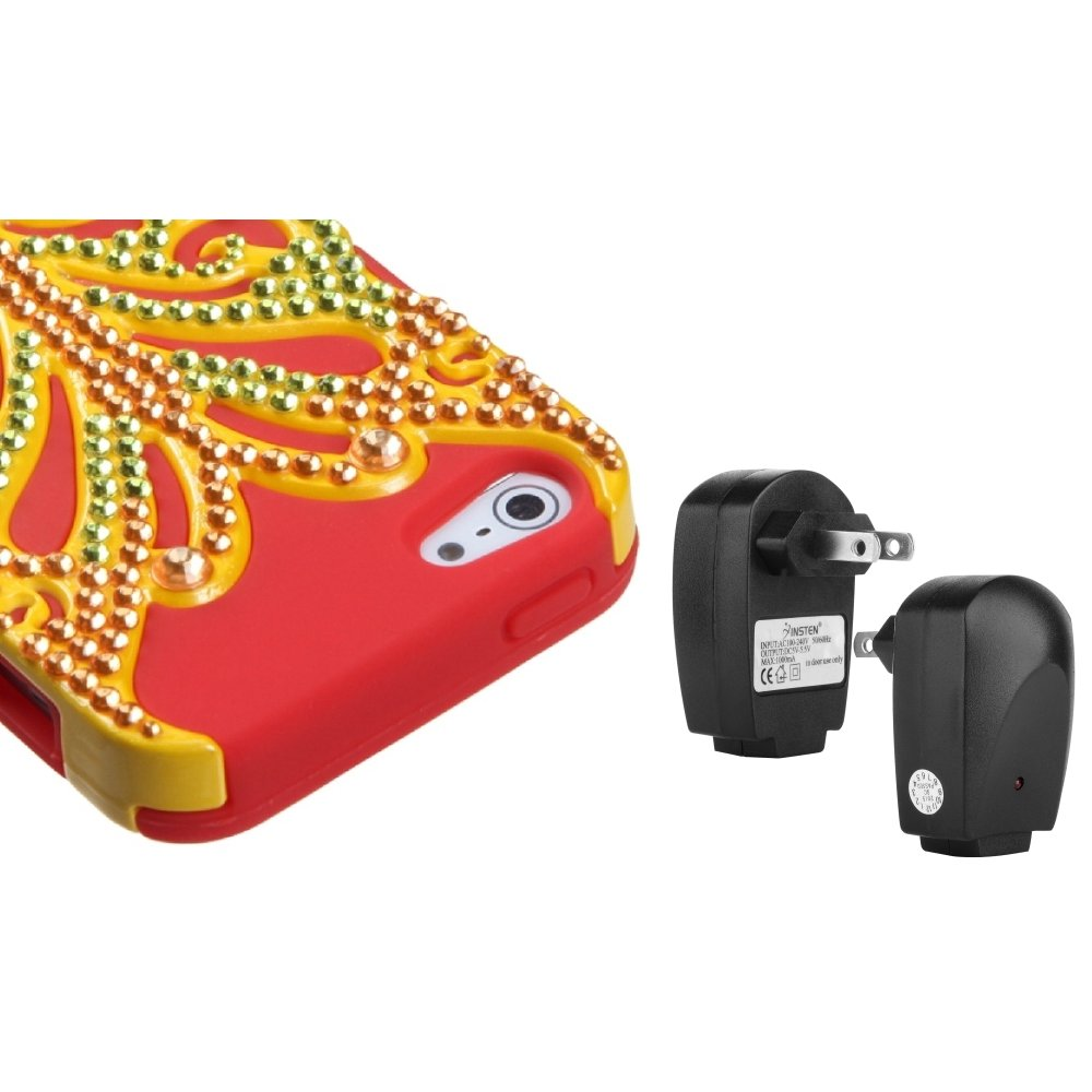Insten Pearl Red Butterflykiss Hybrid Case For iPhone 5 + USB Travel Charger