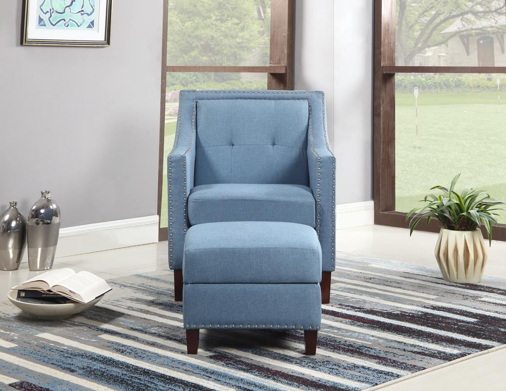 Accent Chair With Storage Ottoman, Blue