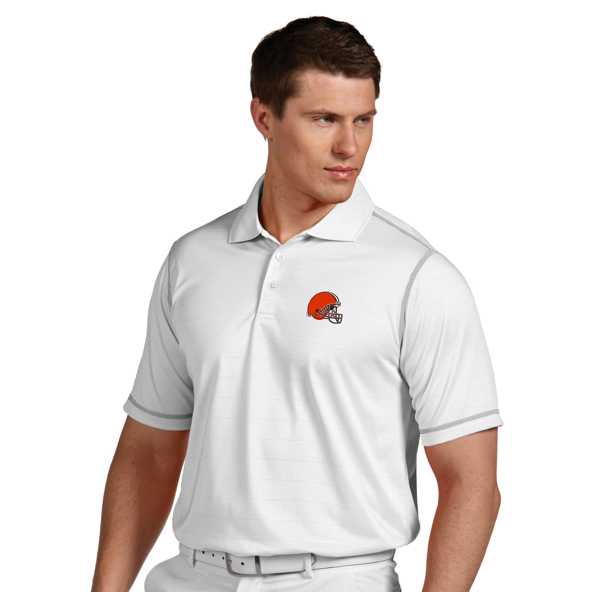 Cleveland Browns Antigua Icon Desert Dry Polo - White - S