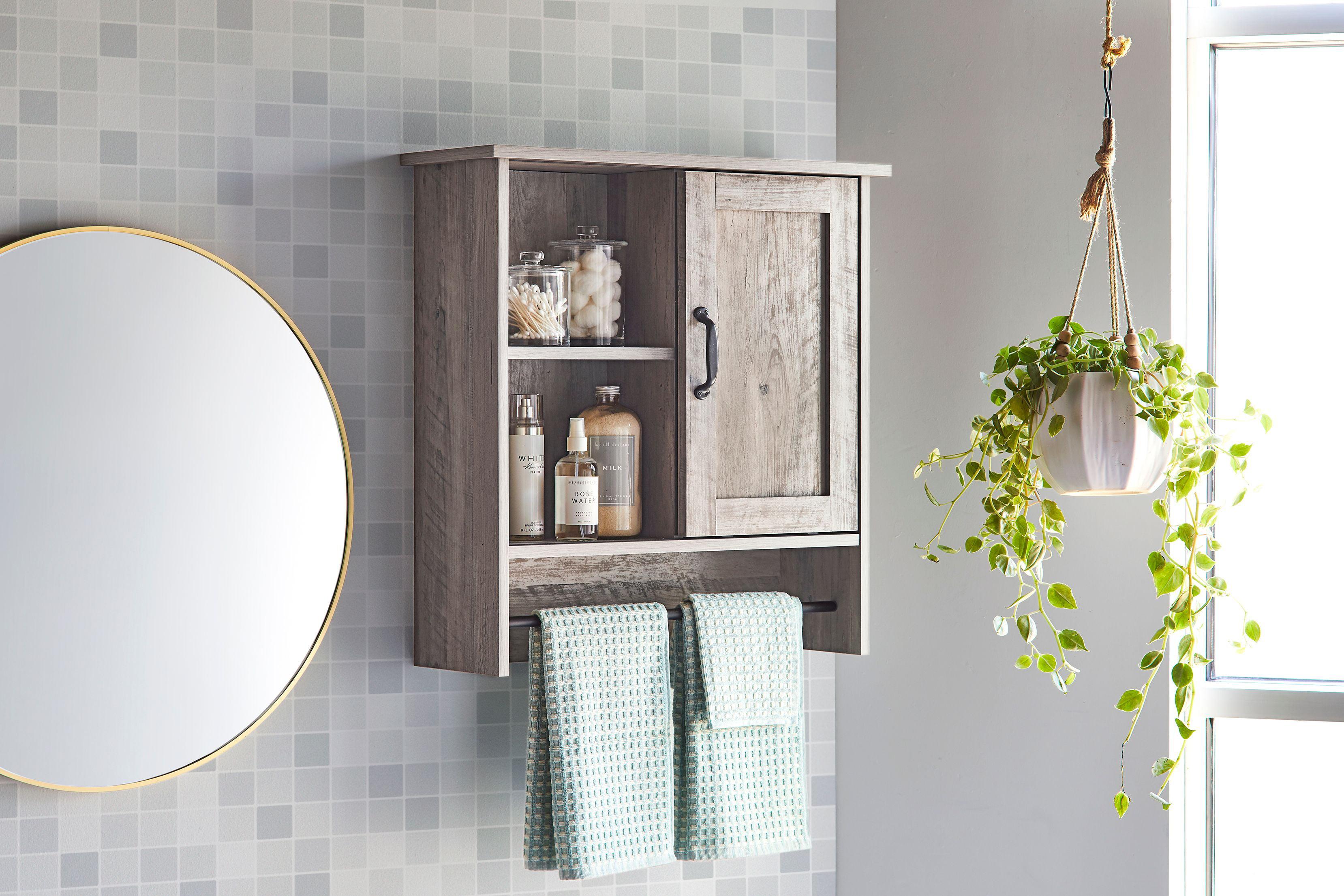 Better Homes Gardens Modern Farmhouse Bathroom Wall Cabinet Rustic Gray Finish Walmart Com Walmart Com