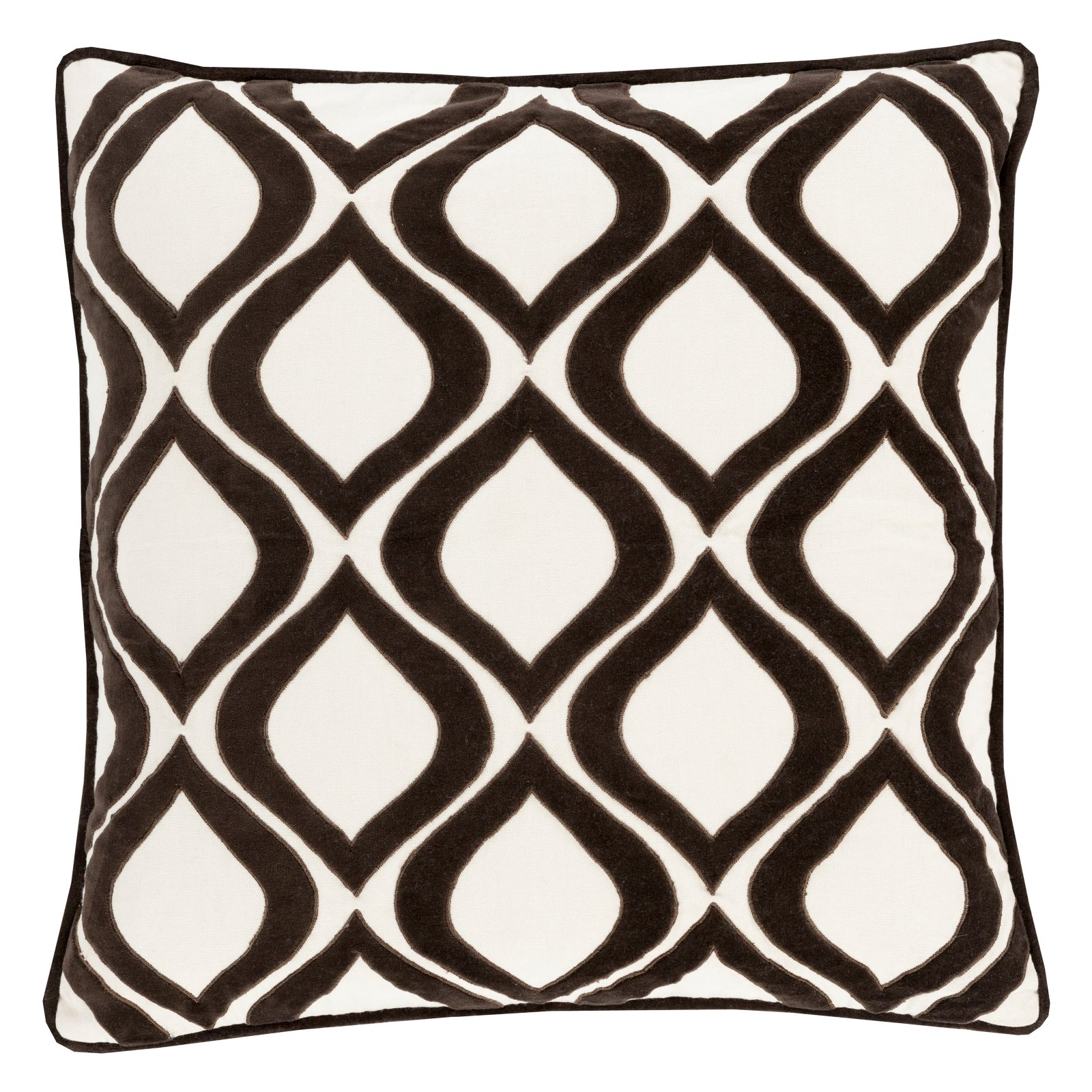 Surya Diamond and Cross Velvet Decorative Throw Pillow