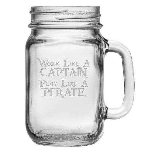 Susquehanna Glass Work Like a Pirate Drinking Jar (Set of 4)
