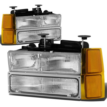 For 1994 to 2000 Chevy C / K -Series Suburban / Tahoe 8pcs Headlight+Bumper+Corner Lamps Kit OE Style Chrome Housing Amber Corner - GMT400 95 96 97 98 (99 Gmc C2500 Suburban Headlight)