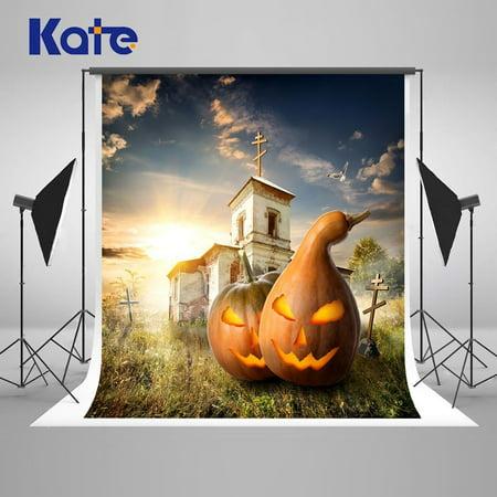 MOHome Polyster Pumpkin Haunted Castle Backdrops for Photography Halloween Nostalgic Home Decoration Background Photo Studio Props pour Toussaint 5x7ft &hellip