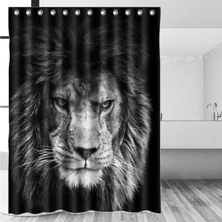 150X180cm Lion Bathroom Shower Curtain Waterproof Polyester Fabric + 12 Hooks Set Home Decor ()
