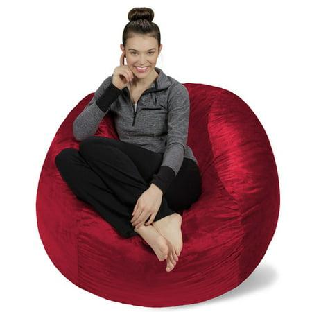 Memory Foam Bean Bag 4 Foot Chair Red Size Medium Microfiber
