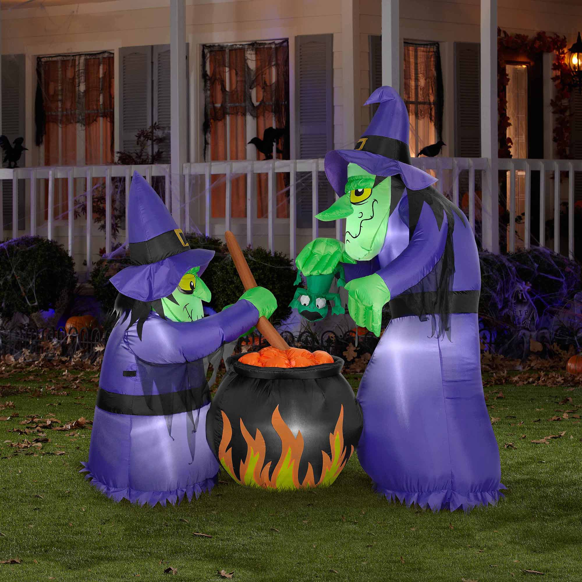 Gemmy 6'H x 4'W Airblown Halloween Inflatable Double Bubble Witches with Cauldron