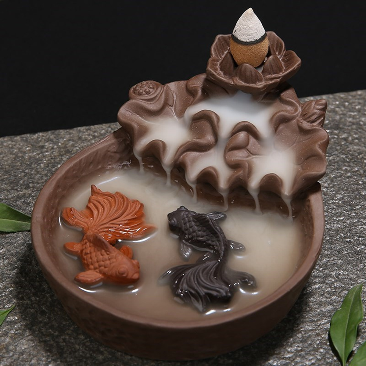 Fish Porcelain Backflow Incense Burner Ceramic Holder Buddhist For Home Office Walmart Com Walmart Com