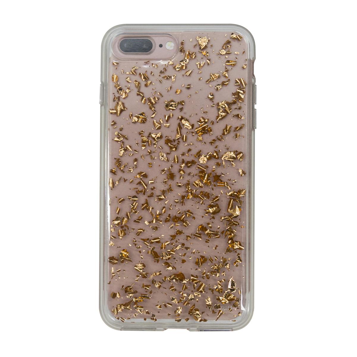 Onn Lightweight Slim Clear Case For iPhone 7 Plus/8 Plus, Rose Gold Flecks