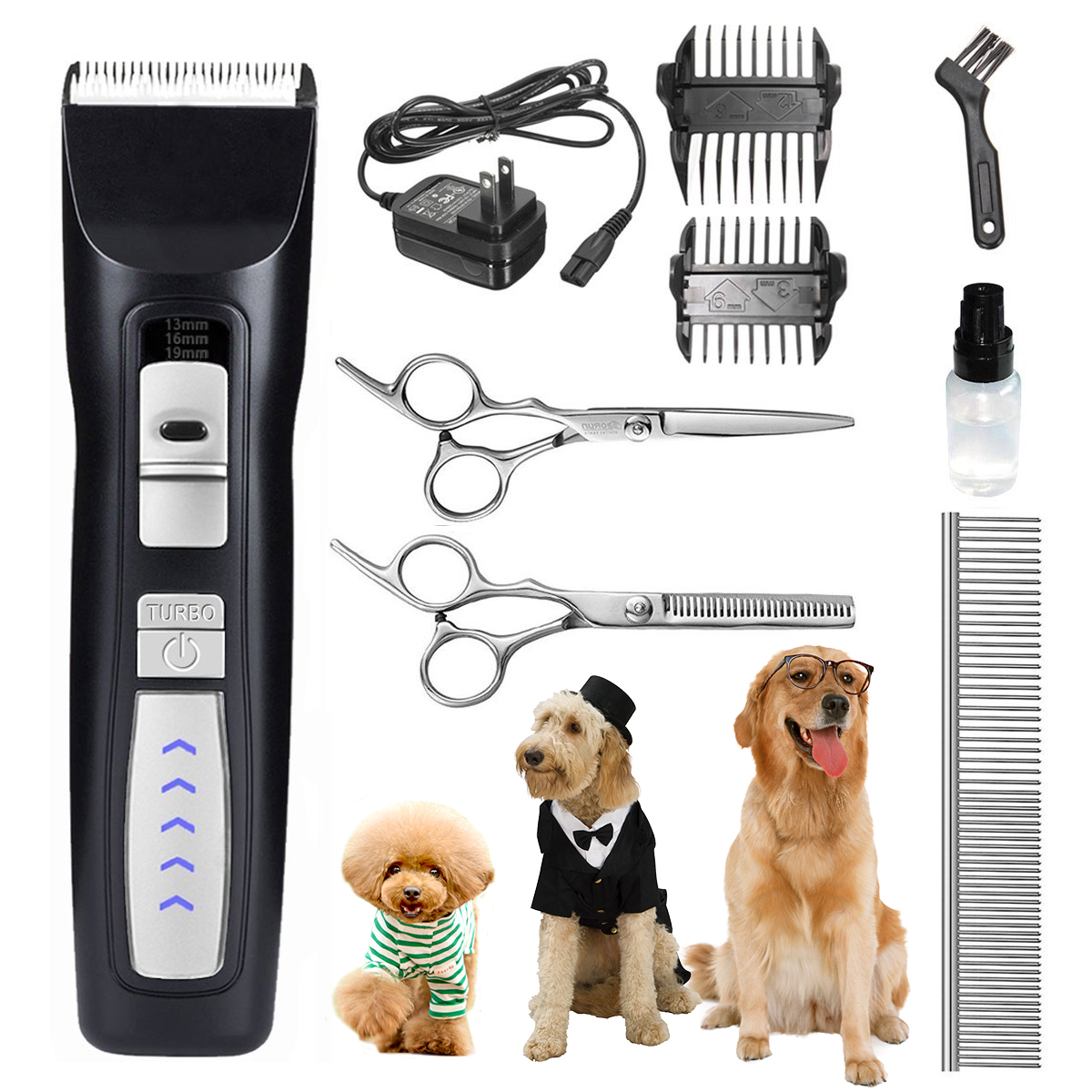 Dog Pet Grooming Clippers for Thick fur , Focuspet Low Noise Professional Dog Grooming Clippers Rechargeable Cordless Pet Grooming Clippers Tool Trimmer for Small to Large Dogs Cat