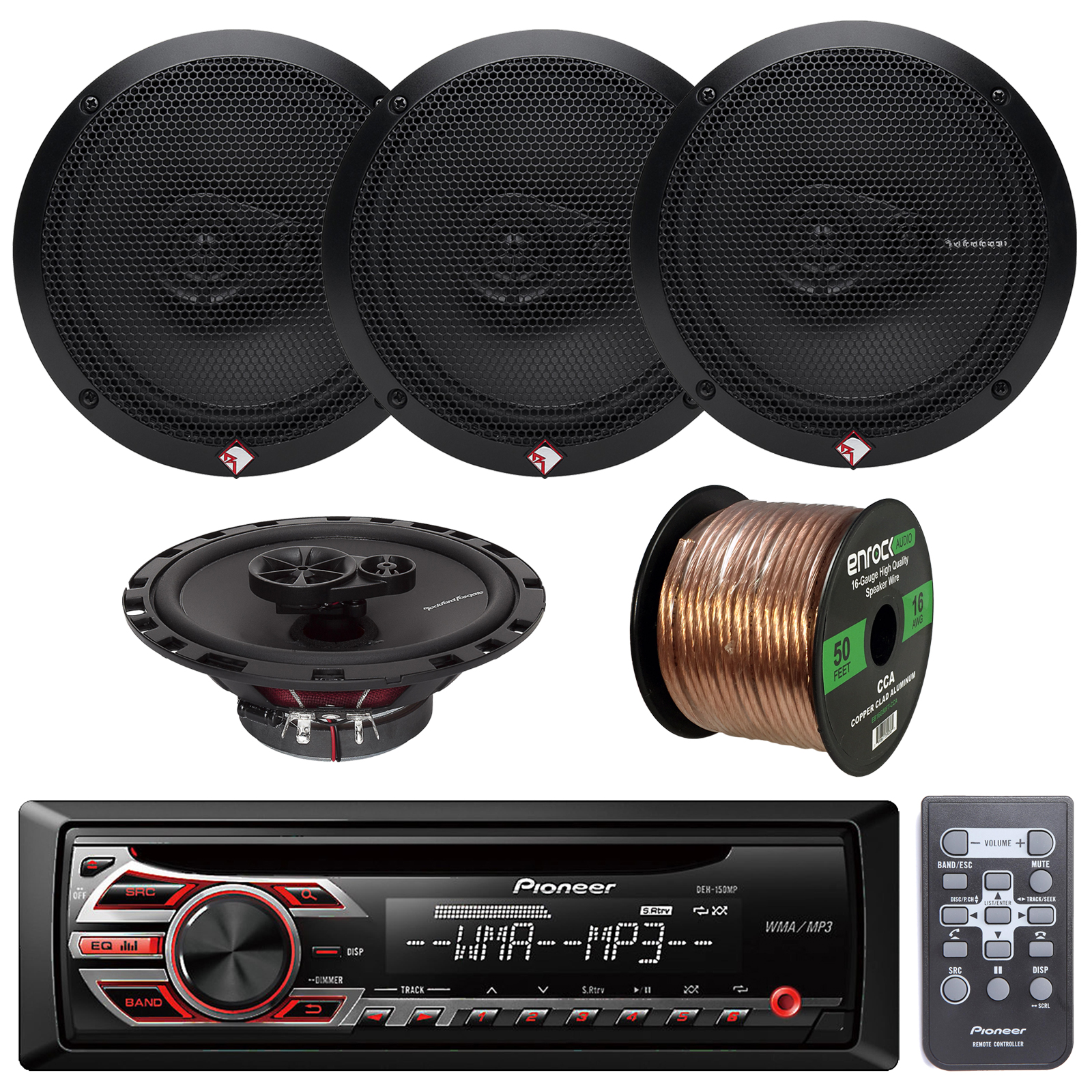 Pioneer DEH150MP Car Stereo CD Receiver Bundle Combo With...