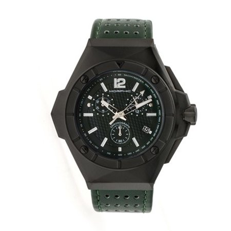 Morphic M55 Series Chronograph Leather-Band Watch W/Date -