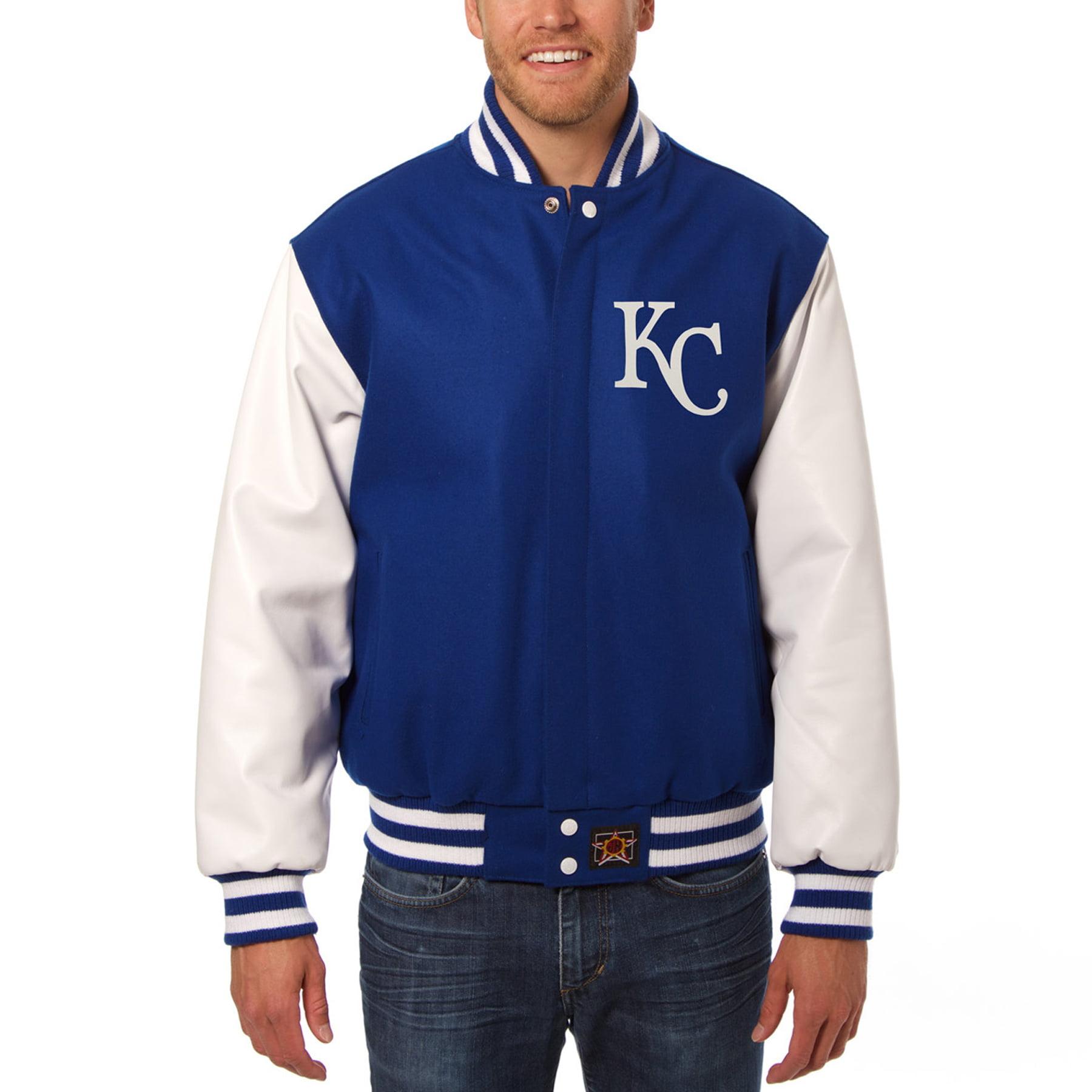 Kansas City Royals JH Design Two-Tone Wool & Leather Jacket - Royal/White