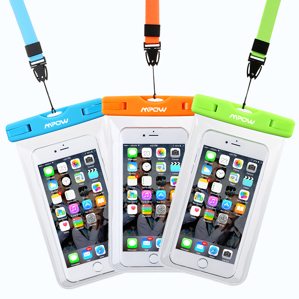 VicTsing Universal Waterproof Case Bag(3 packs )for Apple iPhone 6s, 6 Plus, Samsung Galaxy S6 Edge. Best Water Proof, Dust Dirt Proof, Snowproof Pouch for Cell Phone up to 5.7 inches