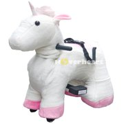 Rechargeable 6V/7A Plush Animal Ride On Toy for Kids (3 ~ 7 Years Old) With Safety Belt Unicorn