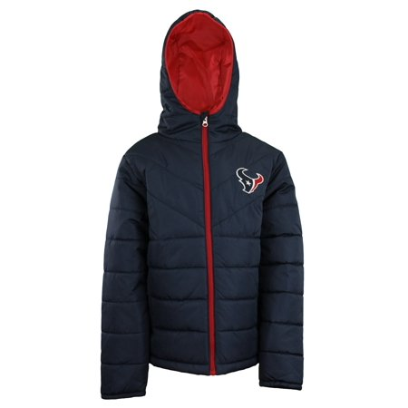best service 5e77e 679b9 OuterStuff NFL Youth Boys (4-18) Houston Texans Puffer Jacket, Navy