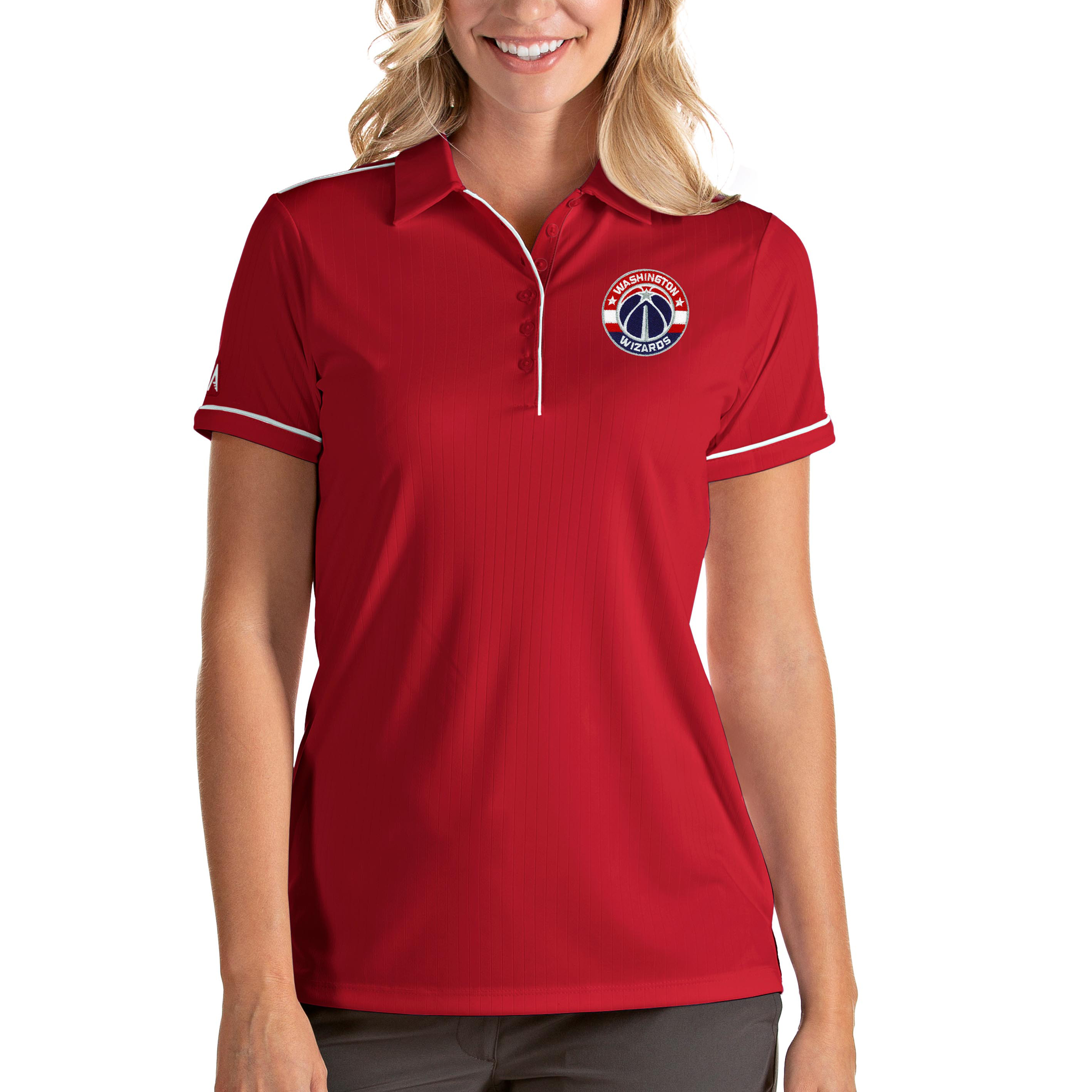 Washington Wizards Antigua Women's Salute Polo - Red/White