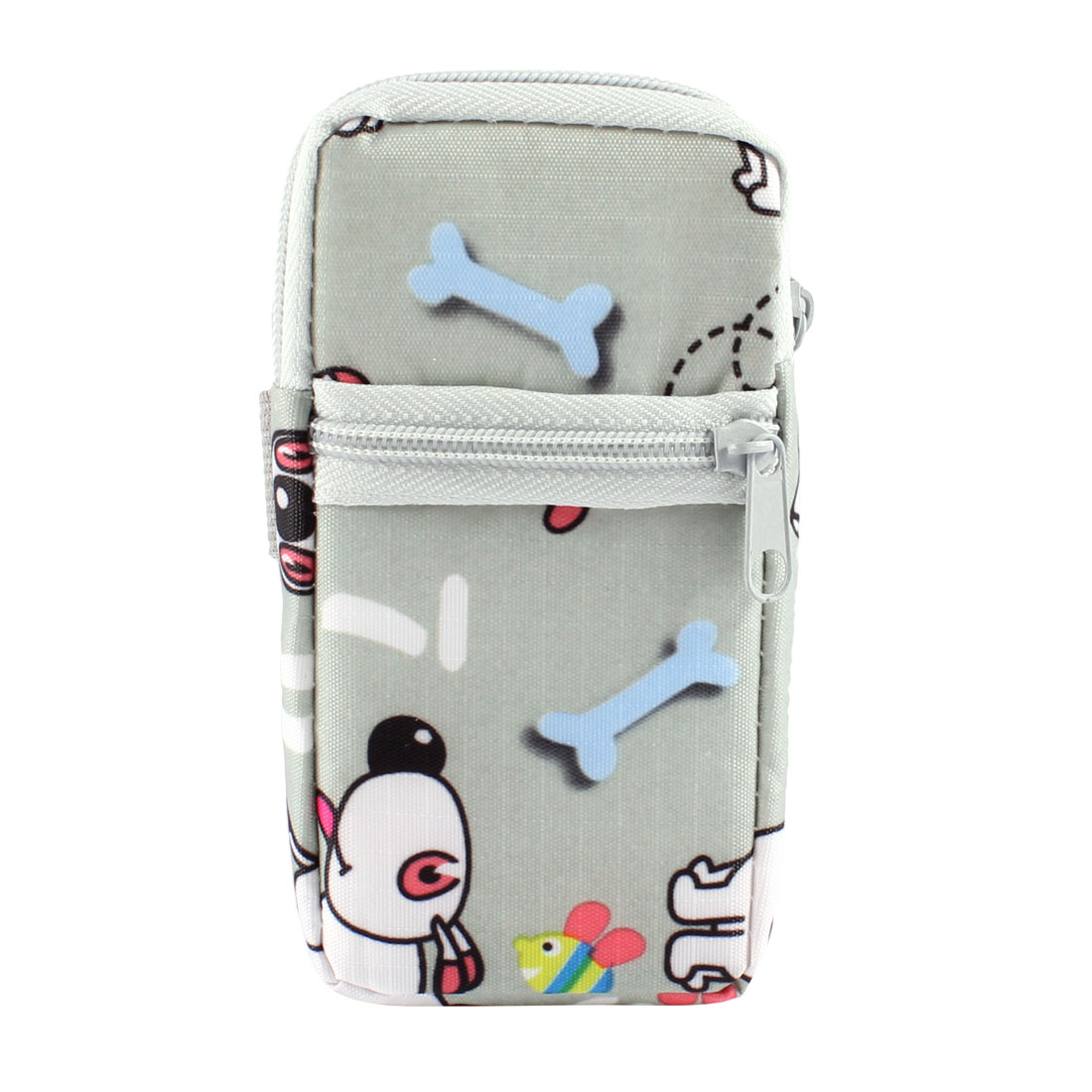 Unique Bargains Gray White Cartoon Printed Dual Compartments Zip Up Phone Wrist Bag Holder