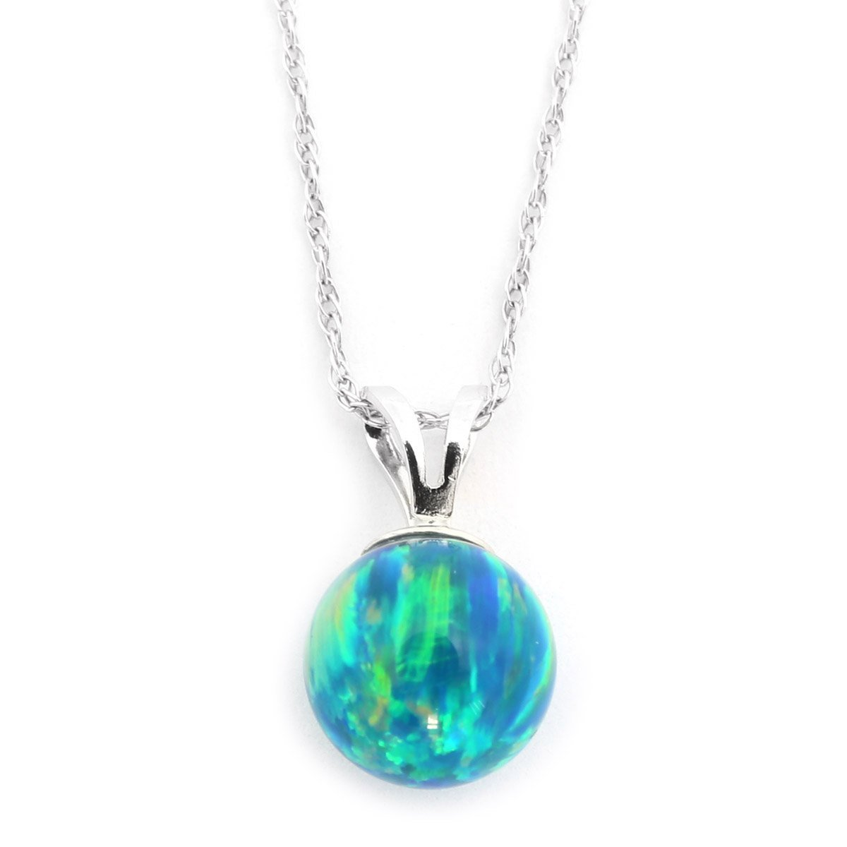 """14k Yellow or White Gold 10mm Green Simulated Opal Pendant Necklace, 13"""" 15"""" 16"""" 18"""" 20""""... by"""