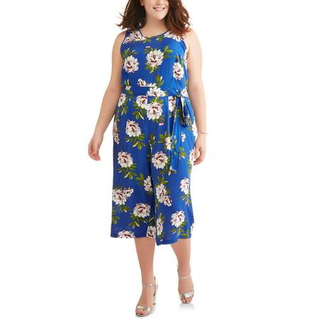 Women's Plus Sleeveless Floral Jumpsuit With Tie Belt - 70s Jumpsuit Womens
