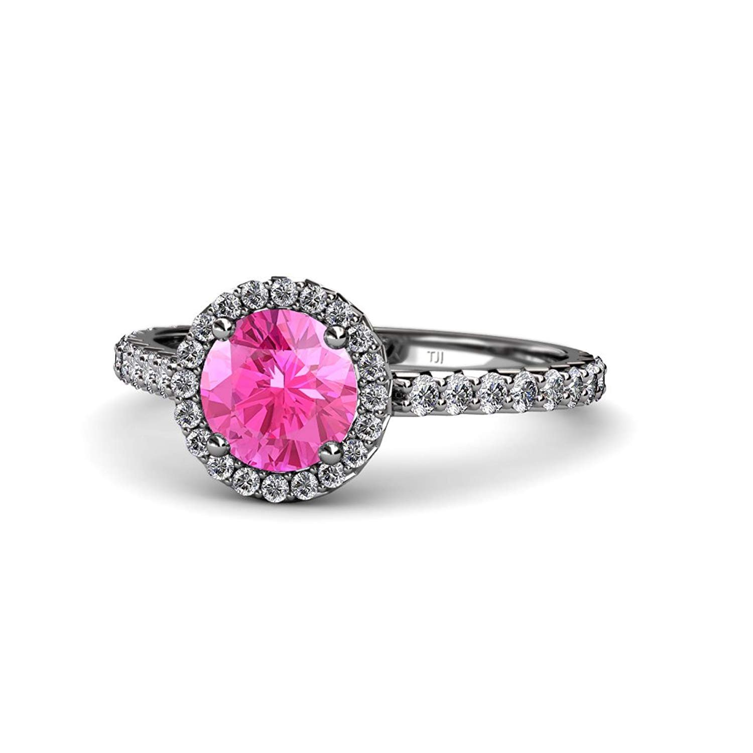 Pink Sapphire and Diamond (SI2-I1, G-H) Halo Engagement Ring 1.33 ct tw in 14K White Gold.size 7.0 by TriJewels