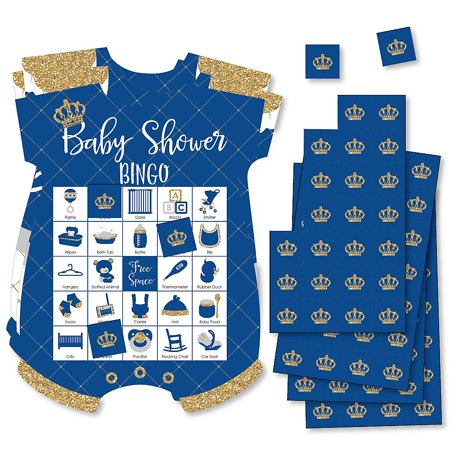 Royal Prince Charming - Picture Bingo Cards and Markers - Baby Shower Shaped Bingo Game - Set of 18 - Royal Prince Baby Shower